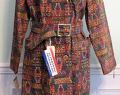 Vintage Trench Tapestry Coat BoHo Southwestern NOS Deadstock Tags Tribal