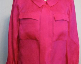 Vintage Estevez Blouse Designer Luis Estevez 1970s Hot Pink Jacket