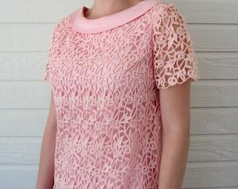 1960s Dress Pink Overlay  Pink Dress Lace