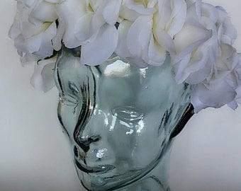 White Rose Flower Crown. Bridal Flower Crown. Rose Flower Crown. Flower Crown.