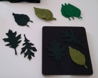 Die-cut leaves. Tattered leaves.  Sizzix die-656927