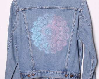 Vintage Levis Denim Jacket customised with Mandala Motif Size 12 / M
