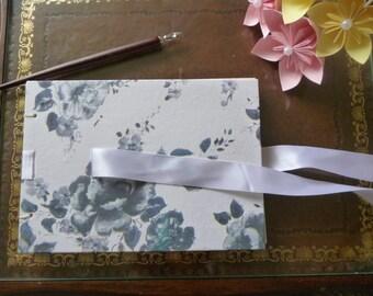 Wedding guest book, vintage style floral A5 hand bound blank book, guestbook, sketchbook or scrapbook