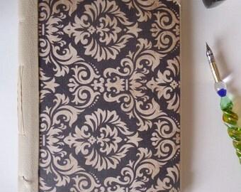 Hand bound leather spine A5 notebook, sketchbook, journal, damask print