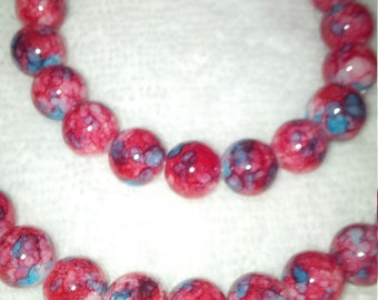 Red and Turquoise Beaded Jewelry Set   (#463)