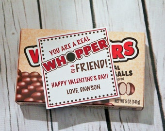 Valentine Printable - You are a real WHOPPER of a friend! - customized