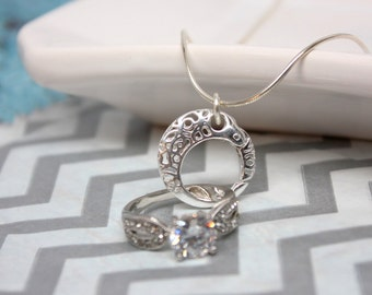 Engagement Ring Holder Necklace with Round Lattice Design, Sterling Silver Heart Ring Holding Pendant