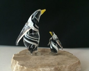 Handblown Glass Penguin & Baby Sculpture