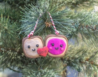 Couple's Ornament, Peanut butter and Jelly Keepsake Ornament, Christmas Ornament or Decoration