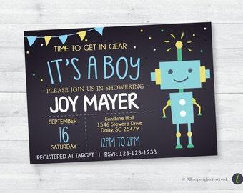 Robot Baby Shower Chalkboard  Invitation (boy)