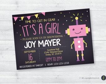 Robot Baby Shower Chalkboard Invitation (girl)