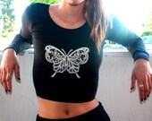Butterfly Long Sleeve Crop Top-Butterfly Shirt-American Apparel
