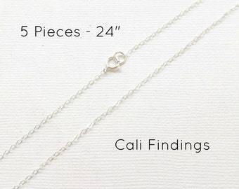 """5pc- 24"""" Sterling Silver Chain Finished, Finished Necklace, Flat Cable Chain, 1.3mm, 5 Pieces, Silver Chain, Bulk Chain, 24 inch"""