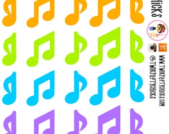 30 Bright Mulit Colored Music Note Planner Stickers