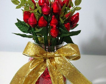 Red Hershey Rose Kisses - Two Dozen