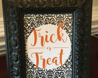 Trick or Treat Halloween Art Print - Party - Decoration - Orange and Black - 5x7 or 8x10