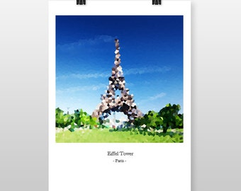 Eiffel Tower print, Paris, Mosaic Style, Pixelated, Colour Print, Abstract, Travel, Love, Present, Destination