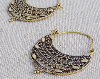 Brass hoops / Tribal Earrings / Ethnic earrings / Tribal Jewelry / Boho hoop earrings