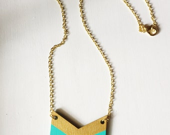 Hand Painted Wood Chevron Pendant - Turquoise and Gold
