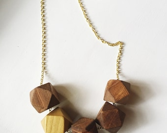 Geometric Bead Necklace - wood stain and gold