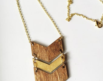 Triple Chevron Wood Necklace - Hand-stained and Gold