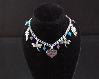 Mum Themed Charm Bracelet in Blue & Purple with Dragonflies, Butterlies, Flowers, SALE