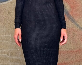 Black Minimalist Dress/ Special  Elastic Fabric Snake Skin Texture/ Asymetric Dress/Evolet Fashion