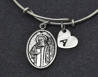 St Benedict Bangle, Sterling Silver Bangle, St Benedict Bracelet, Bridesmaid gift, Personalized Bracelet, Charm Bangle, Initial Bracelet