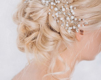 Bridal Headpiece, Pearl and Rhinestone Haipiece, Wedding Hairpiece, Bridal Hair Comb, Wedding Hair Accessories- ZENA