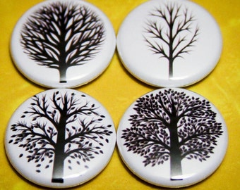 "Trees Set of 4 - 1"" Pin Back Buttons or Magnets"
