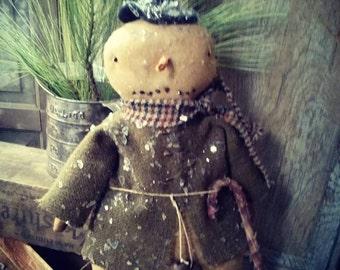 Primitive Snowman Cloth doll Winter Christmas FAAP HAFAIR