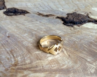 Gold Double Heart Ring