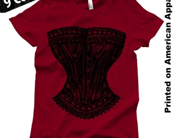 Corset American Apparel Women's T-shirt S-XXL Funny, Feminist, Vintage Engraving, Victorian, Cool Gift!