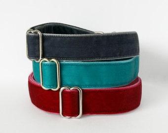 Velvet Dog Collar. 1 inch. Choice of colours.