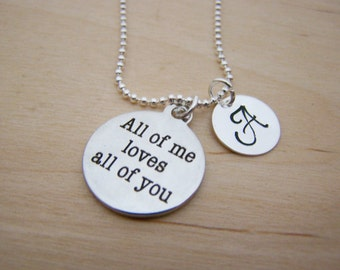 All of Me Love Charm - Personalized Necklace - Custom Initial Necklace - Silver Necklace - Initial Jewelry - Monogram Necklace  Gift for Her
