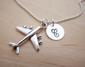 Airplane Charm - Personalized Necklace - Custom Initial Necklace - Silver Necklace - Initial Jewelry - Monogram Necklace - Gift for Her