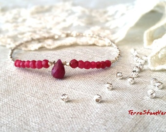 Ruby Bracelet July Birthstone Bracelet Woman's Bracelet Karen Hill Tribe Beads Beaded Bracelet Beadwork Chakra Bracelet Gifts for Her