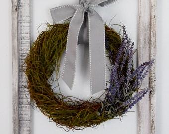 Rustic Lavender Wreath Wall Decor | Barn Wood Framed Wreath | Open Frame Decor | Farmhouse Decor | Wall Hanging