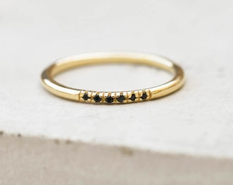 Petite, Dainty Ultra thin Stacking Ring with 6 mini micro pave CZ Black Stones - GOLD - quarter eternity band, stacker ring