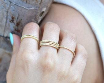 Ultra Thin 1mm FULL Eternity Band Ring - Gold - FULL Band  Fashion Ring, Stacking Ring, Wedding Ring, Engagement Ring,