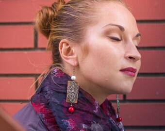 Copper Pearl Earrings metalwork, boho, lace, red and white earrings, Copper Wire Earrings, Long Dangle Earrings, Antiqued Earrings, Gift