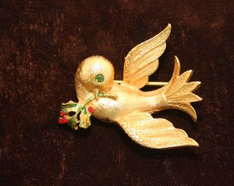 Dove of peace Mylu signed vintage brooch pin