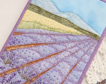 Fabric Postcard - Quilted Postcard - Landscape - Greeting Card - Lavender Field