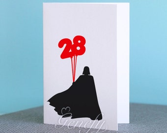 Personalized Star Wars Darth Vader Card - Silhouette Paper Cut Out - Birthday Cards / Greeting Cards