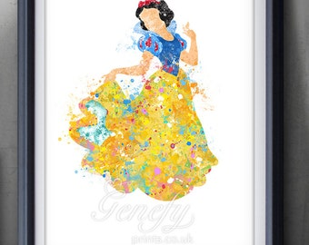 Disney Princess Snow White Watercolor Art Poster Print - Wall Decor - Artwork - Home Decor - Kids Decor - Nursery Decor