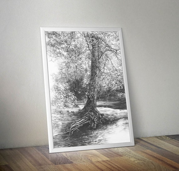 Tree Drawing PRINT Pencil Realistic Art Nature