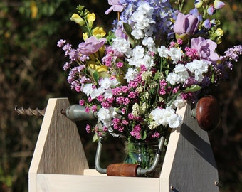 Handmade Wooden Caddy, Tool Caddy, Garden Tote, Home Decor, White-Washed Decor, Farmhouse Decor