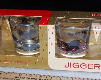 New Whimsical Bartlett Collins Set of 4 Blown Glass Jiggers