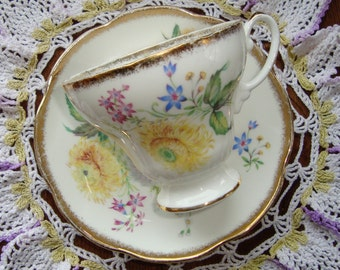 Foley - Bone China England - Vintage Tea Cup and Saucer - Multifloral with Brushed Gold Trim