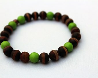 Mens Womens Natural Agate and Wood Bracelet